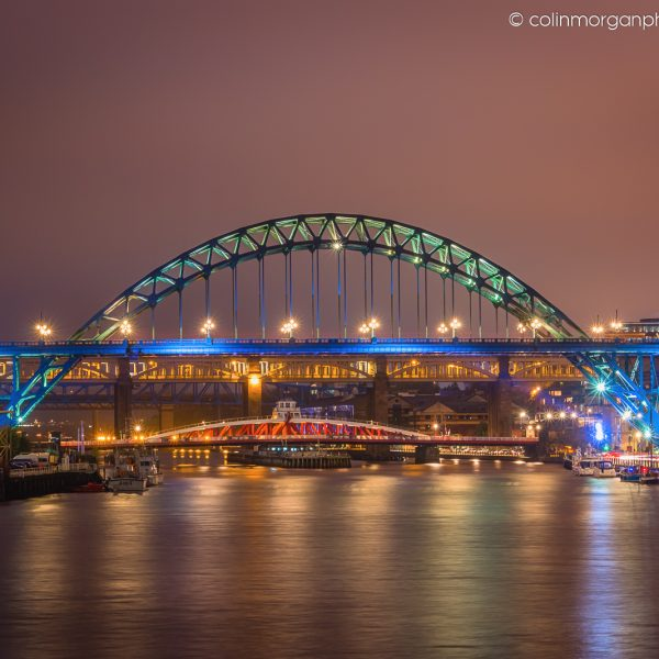 Tyne Bridges at Night from the Millennium Bridge. Colin Morgan Photography