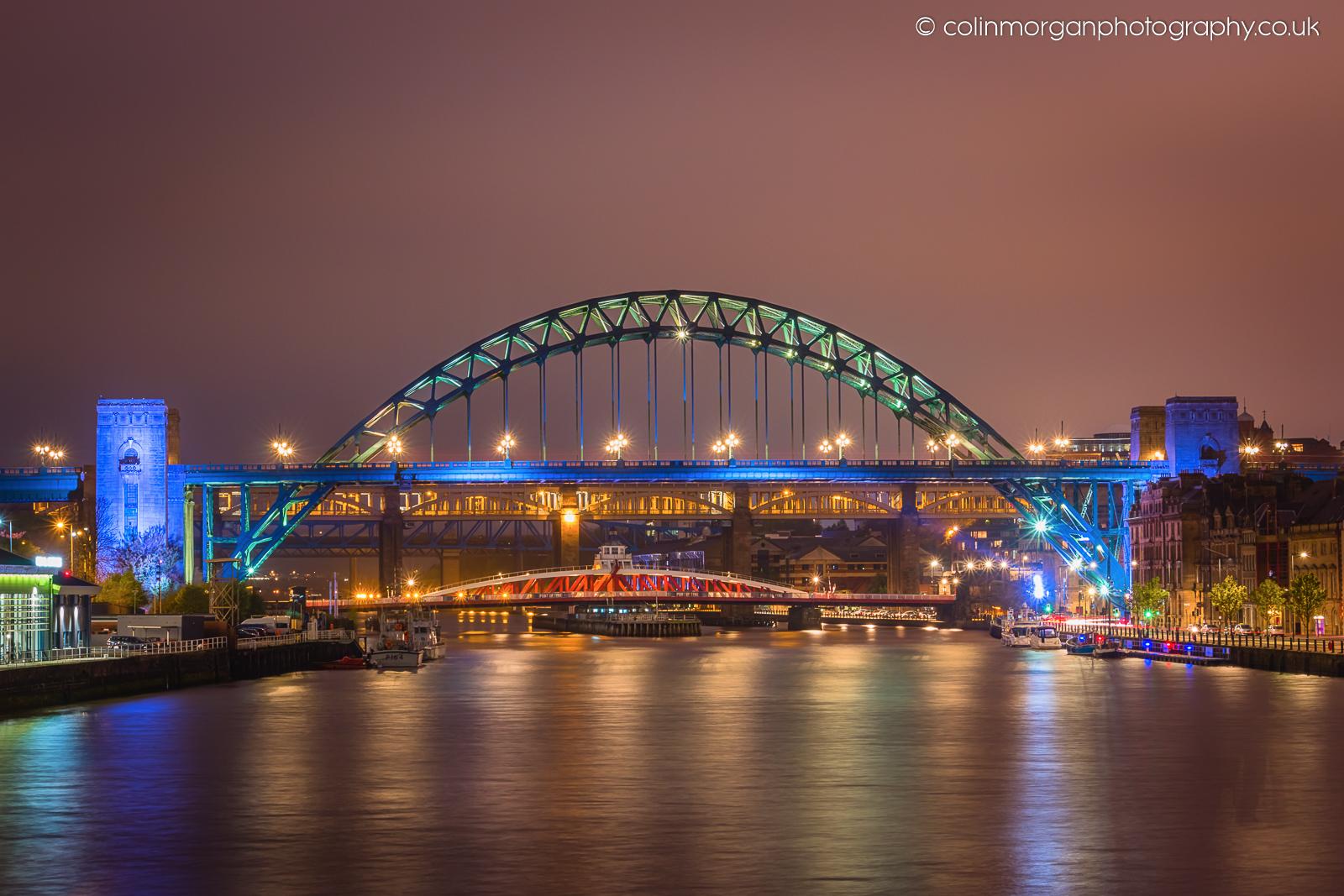 Tyne Bridges at Night from the Millennium Bridge. Colin Morgan Photography