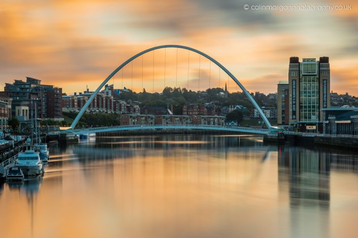 Colin Morgan Photography © Sunrise at the Millennium Bridge, Newcastle Quayside. Ref 3206 Cityscape Photograph | Print | Canvas