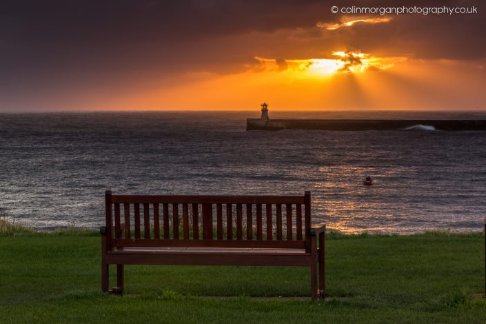 Tynemouth Sunrise Seat with a View. Ref 1235 Colin Morgan Photography © Seascape Photograph | Print | Canvas